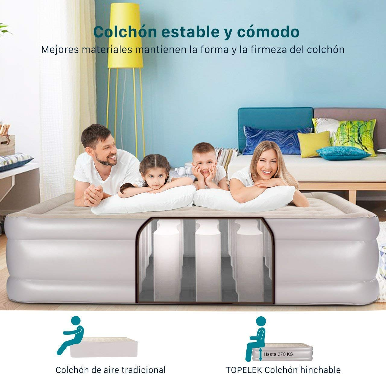cama hinchable - colchon hinchable-ganga amazon